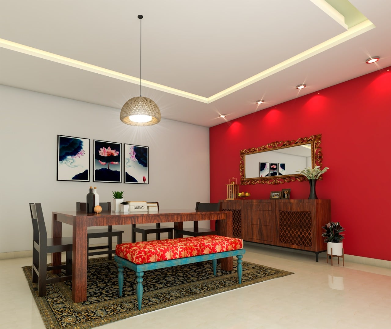 Indian Dinning room design with wallpaper